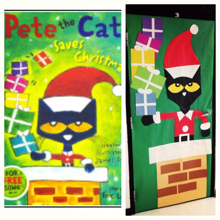 """Pete the Cat Saves Christmas"" Classroom Door that I made!"