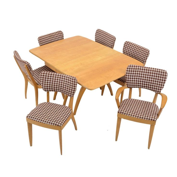 maple heywood wakefield dropleaf dining table and six chairs