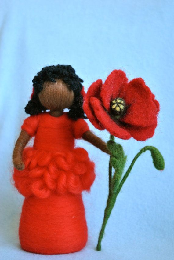 Waldorf inspired needle felted doll: Poppy fairy (Fée des coquelicots)