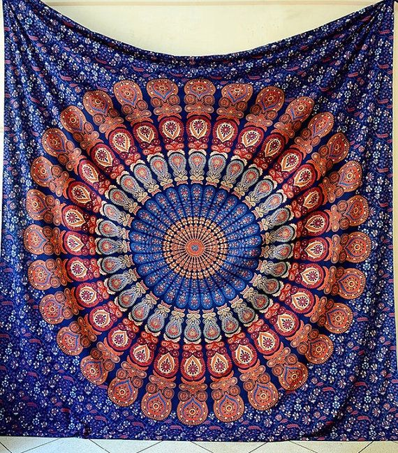LARGE Mandala Blue Fabric Tapestry Bohemian Hippie Wall Hanging Blue Color Bedspread Bedding Beach Throw Ethnic Home Decor by NANDNANDINITEXTILE on Etsy