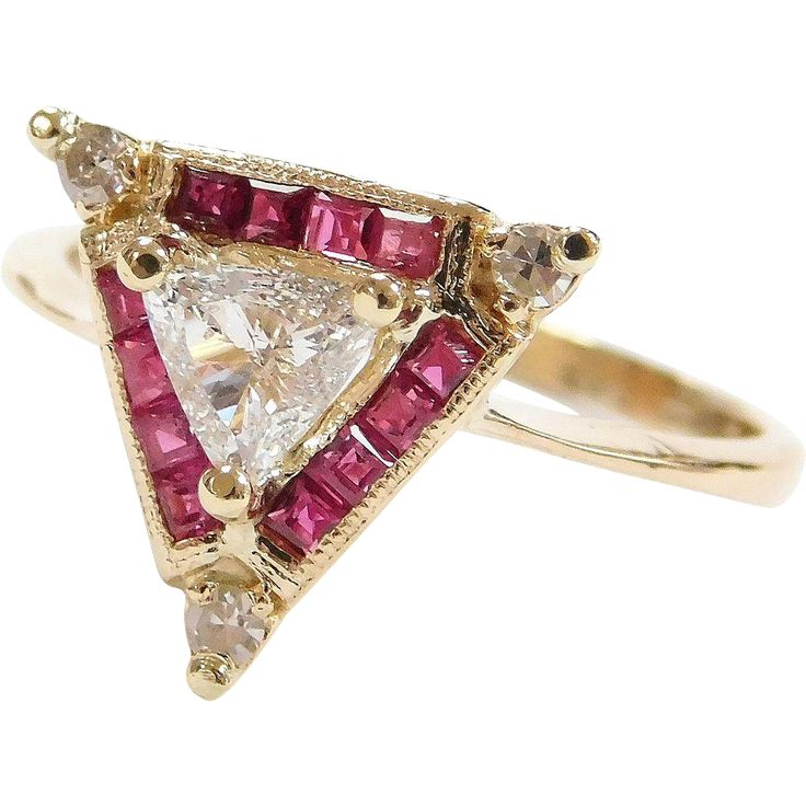 Unique 14k Gold Natural Ruby and Trillion Diamond Triangle Ring  -- found at www.rubylane.com #VintageBeginsHere