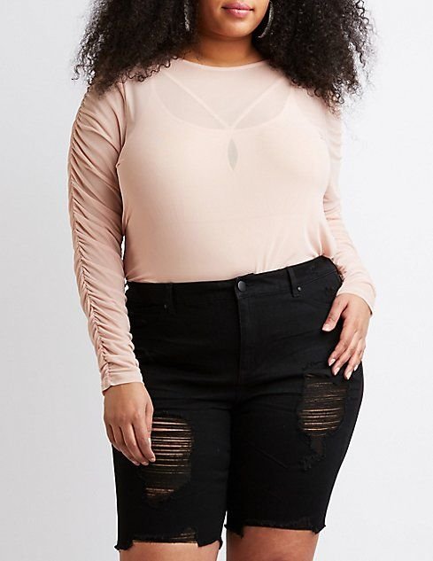 e3419f5b8c9d6e Plus Size Ruched Sleeve Mesh Top | DYW Collection Inspiration | Tops,  Sleeves, Plus size