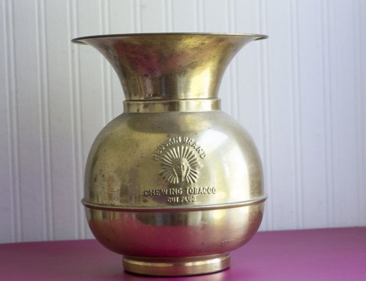 Vintage Brass Spittoon - Redskin Indian Brand Chewing Tobacco – MollysMuses
