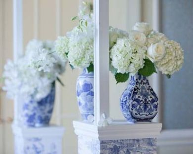 Chinese Blue Vase With White Statement Flowers