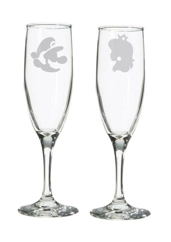 Geeky Wedding Retro 8 Bit Gamer Champagne Flutes / Toasting Glasses