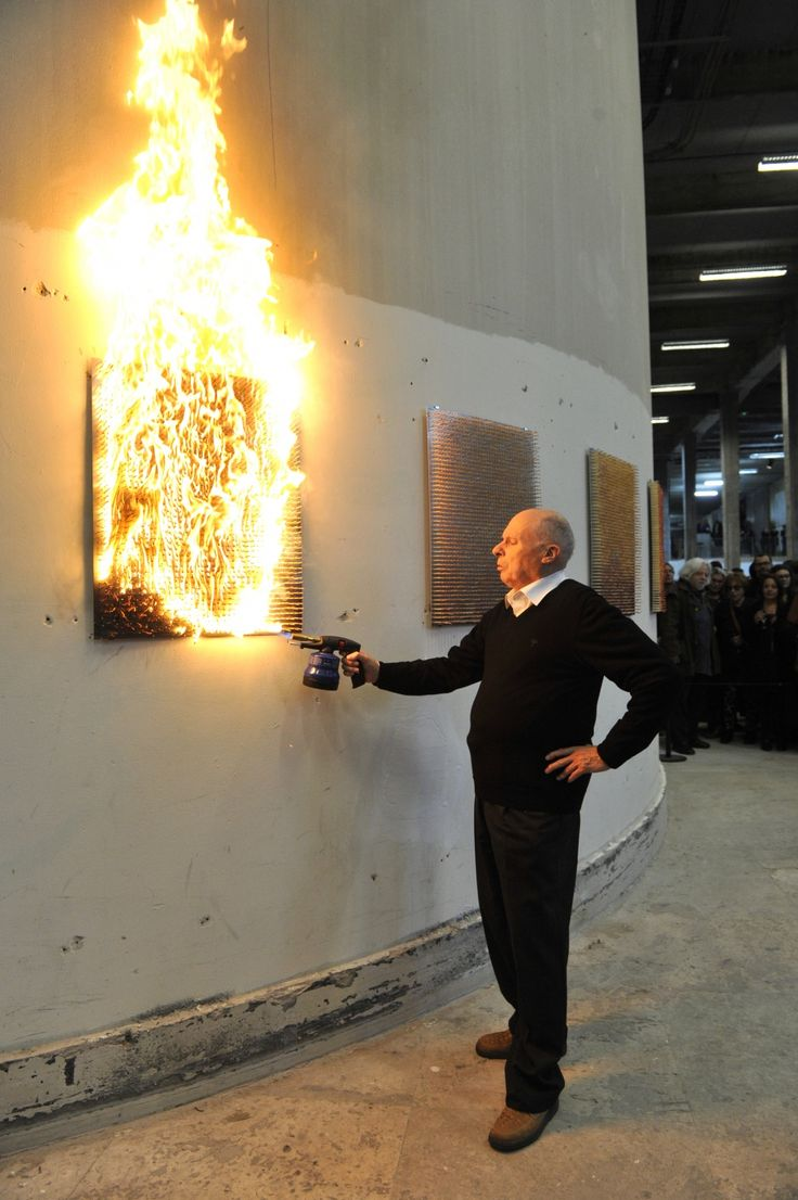 """The """"fire-paintings"""" are fashioned from matches, which leave only traces of smoke and charred wood in the end. Aubertin sees them as so many manifestations of the power of art materials."""