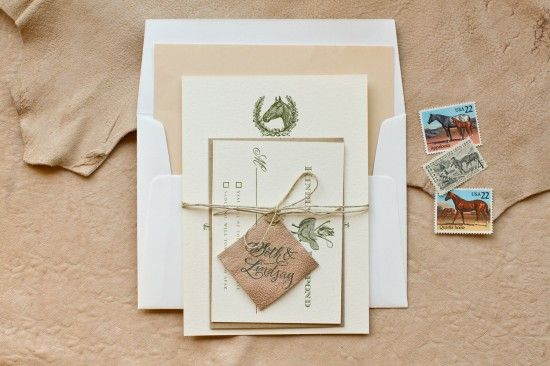 DIY Tutorial: Rubber Stamp Equestrian Wedding Invitations by Antiquaria | Photo Credits: intertwyned for Antiquaria: Wedding Inspiration, Diy Wedding Invitations, Except, Westerns Wedding Invitations, Diy Tutorials, Equestrian Wedding, Leather, Kentucky Derby, Rubber Stamps