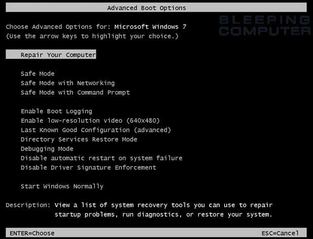 Windows 7 -- Advanced Boot Options screen -- Starting in Safe Mode