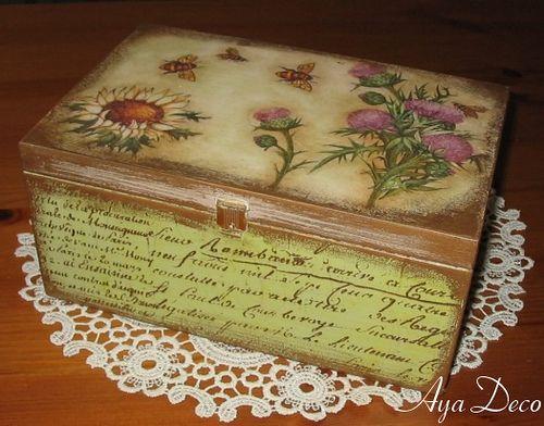 Flowers - decoupage box by Ayadeco.pl, via Flickr