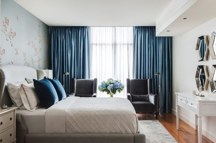 silk satin curtain ideas bedroom transitional with blue curtains linen platform beds