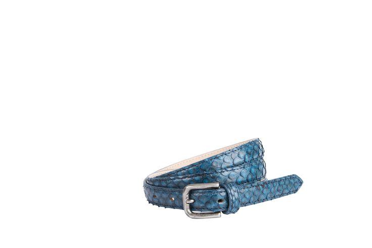 Buckles & Belts - Belt/Gürtel - New Autumn Collection 2016 - Pitone - Phyton leather - denim - blue - Design in SWITZERLAND made in ITALY https://www.facebook.com/BucklesBelts