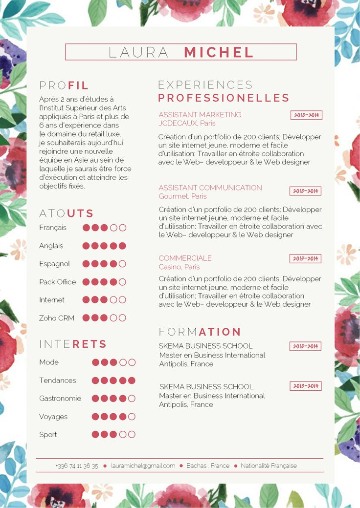 122 best C V images on Pinterest Cv template, Resume templates - florist resume