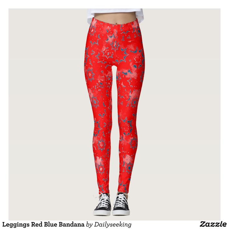 Leggings Red Blue Bandana : Beautiful #Yoga Pants - #Exercise Leggings and #Running Tights - Health and Training Inspiration - Clothing for #Fitspiration and #Fitspo - Strong Female and Female Empowerment Apparel - #Fitness and Gym Inspo - #Motivational Colorful Workout Clothes by Talented Graphic Designers