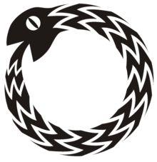 """""""Ouroboros oder Uroboros (griechisch Οὐροβόρος """"Selbstverzehrer"""", wörtlich """"Schwanzverzehrer""""; von griechisch ourá """"Schwanz"""" und bóros """"verzehrend"""") ist ein bereits in der Ikonographie des Alten Ägyptens belegtes Bildsymbol[1] einer Schlange, die sich in den eigenen Schwanz beißt und so mit ihrem Körper einen geschlossenen Kreis bildet."""" see: http://de.wikipedia.org/wiki/August_Kekul%C3%A9"""