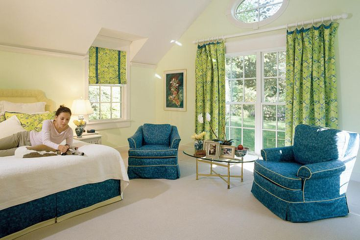 Blue and Green Bedroom - Colorful Coastal Bedrooms - Southernliving. To balance the tropical colors in the bedskirt, chairs, and window treatments, a pale-green sorbet was chosen for the walls.