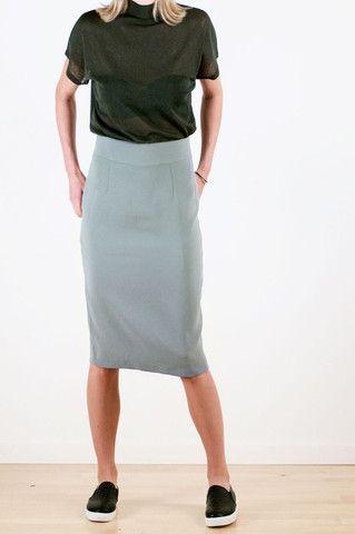Pale Olive Viscose Skirt