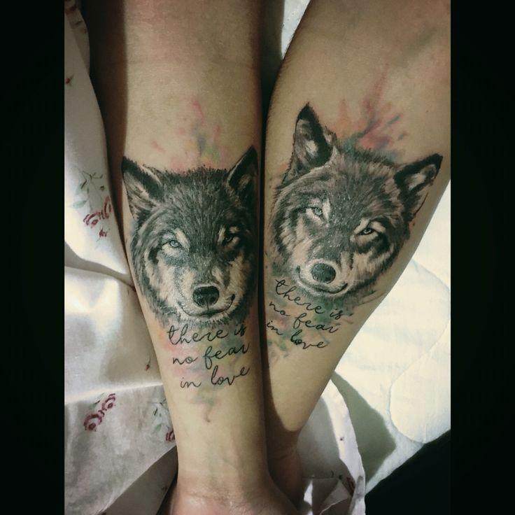 Couple Tattoo  My boyfriend and I  wolf wolftattoo lovetattoo tattoolove wolveslove