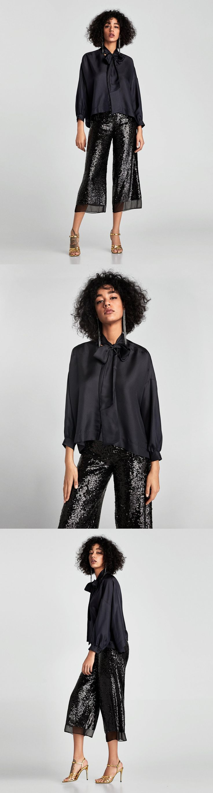 Oversized Shirt With Bow // 119.00 USD // Zara // High collar shirt with a tied bow and V-neck detail in the front. Features long sleeves, gathered cuffs, side vents and lined buttons in the front. HEIGHT OF MODEL: 178 CM / 5′ 10″
