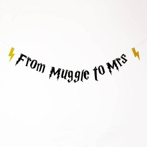 From muggle to Mrs Banner, Black Gold Glitter Banner, Harry Potter Bachelorette Party Decorations. bridal shower party
