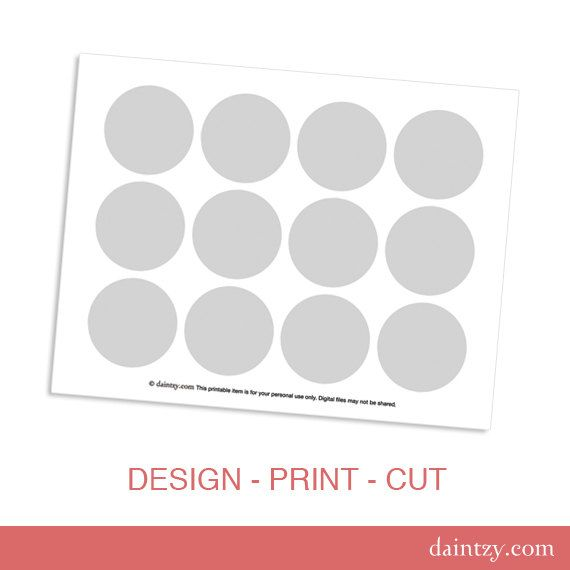 Instant Cupcake Topper Printable Template Diy Make Your Own Party Circles Design By Daintzy Table Organization Flag