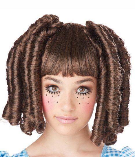 Amazon.com: Baby Doll Curls with Bangs Wig Costume Accessory: Clothing