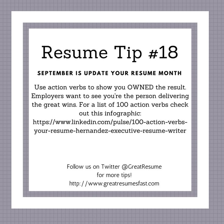 64 best 2017 Resume Tips images on Pinterest Resume tips - active verbs resume