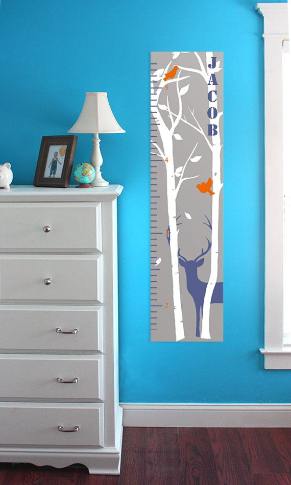 Tree Silhouette with Deer and Birds Hunting Themed Removable and Reusable Growth Chart Wall Decal