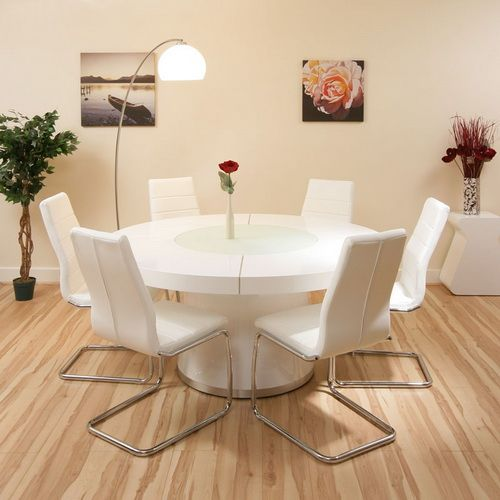 Large Round Dining Set White Gloss Table Plus 6 Chairs Lazy Susan