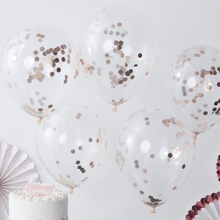 Decorate your venue in style with our Rose Gold Confetti Balloons Inflate the balloons with helium and air Give the balloon a shake to wake the