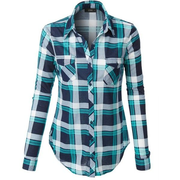 LE3NO Womens Lightweight Plaid Button Down Shirt with Roll Up Sleeves ($21) ❤ liked on Polyvore featuring tops, button down top, polyester shirt, button up top, roll up sleeve shirt and plaid button-down shirts