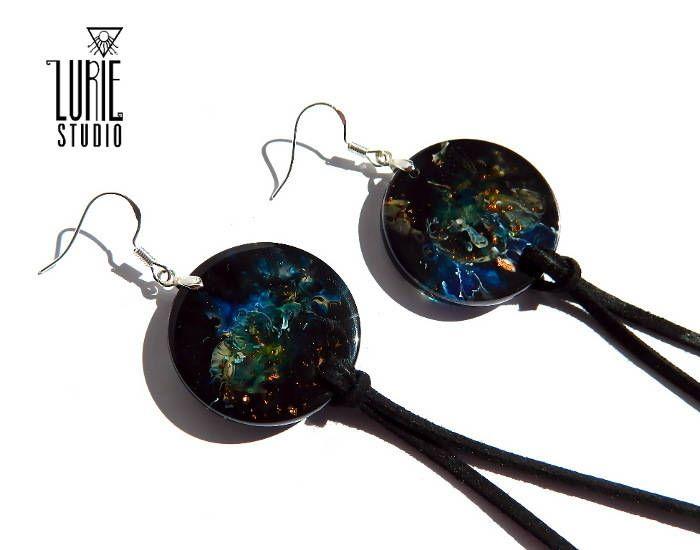 Galaxy Inspired resin tassel earrings, resin earrings, resin jewelry, marbled resin statement earrings, unique gift, earrings
