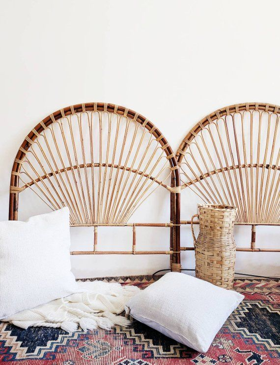 Rare Vintage Rattan Caned Headboard