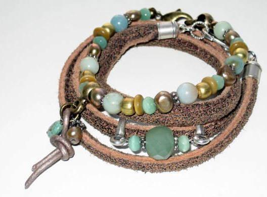 armband turquoise leer met edelstenen