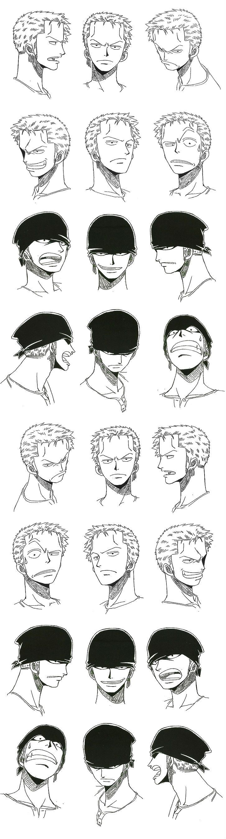 Roronoa Zolo / Roronoa Zoro model sheet, Character design, Official Reference, Settei* --- Note that his earrings are on his left ear, viewer's right