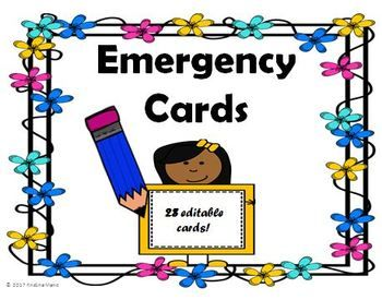 Here is an editable emergency card template with 30 emergency cards. The emergency cards have a spot for student name, address, allergies, phone numbers, how each student rides home, etc. There is also a front cover to maintain confidentiality. After