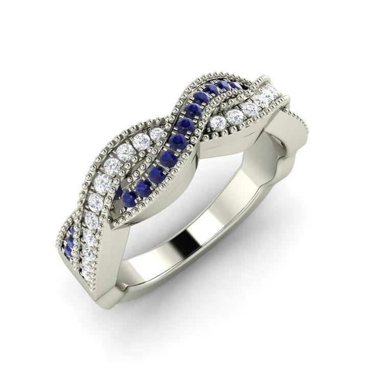 0.32 Ct Blue Sapphire & White Sapphire Wedding Band Anniversary Ring #Diamondere #WithGemstones