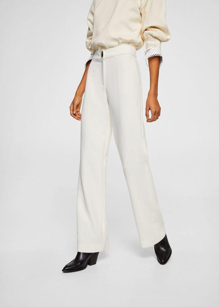 High-waist palazzo trousers -  Women | MANGO USA