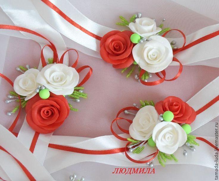 Купить Браслеты для подружек невесты № 4 - белый, красный, свадьба в красном цвете, браслеты