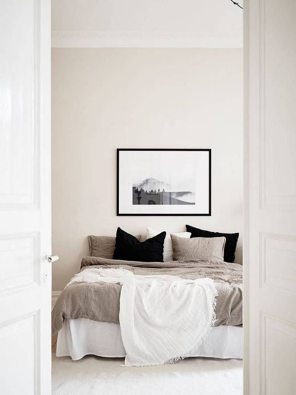 Black white taupe bedroom