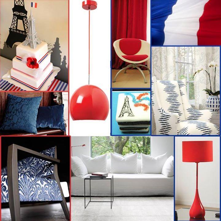 Vive la France! Happy Bastille Day! #french #14july  Îndrăgostiți de Franța? De ce să nu încercați decorarea unei camere în culorile drapelului francez? Inspirați-vă din moodboard-ul nostru și veniți la showroom pentru a vedea și mai multe variante de decorațiuni!   http://www.decoradesign.ro/  #moodboard #interiordesign #lighting #red #blue #white