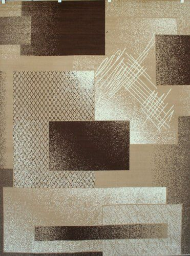 Generations Brand New Contemporary Brown And Beige Modern Squares Area Rug