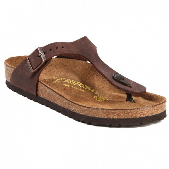 Birkenstock Gizeh Sandals // Brown slip on thong sandals