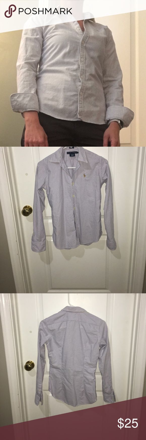 Slim Fit Striped Ralph Lauren Button Down Shirt This Ralph Lauren Striped Button Down Shirt is in EUC. In classic slim fit perfect to wear buttoned up for the office, but equally stylish to wear unbuttoned with jeans or shorts. Ralph Lauren Tops Button Down Shirts