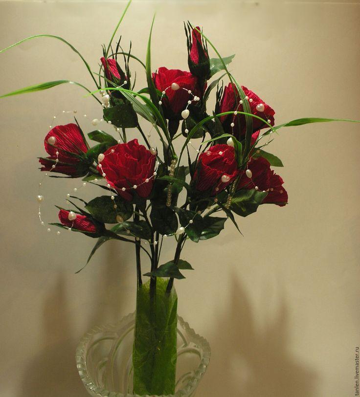 """Купить Букет из конфет """" С любовью """" - бордовый, букет из конфет, букет роз"""