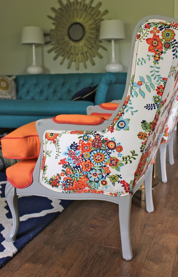 Furniture, Floral Tropical Fabric Painting Furniture Idea For Chair With  Tall Backrest And Orange Bolster On Blue Area Rug Aside Blue Chesterfield  Sofa With ...