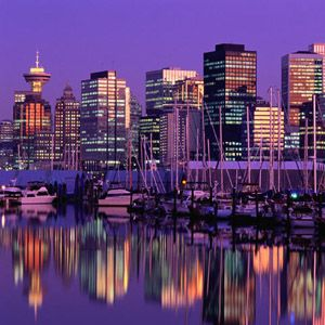 The Vancouver Harbour at dusk