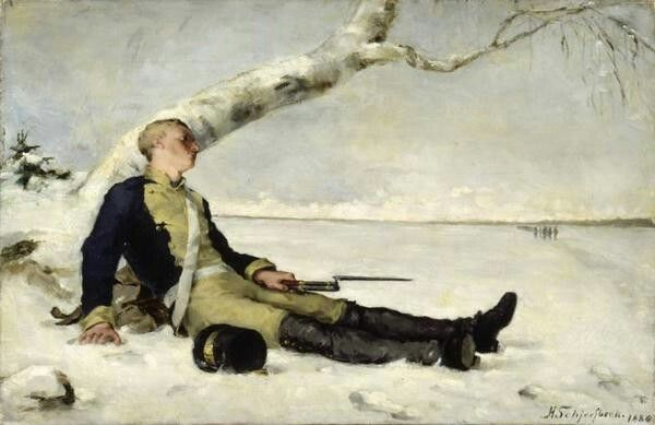 Helene Schjerfbeck,Wounded Warrior in the Snow,1880