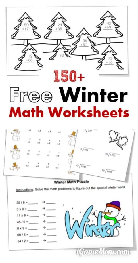 Free winter math printable worksheets for kids from preschool kindergarten to elementary and middle school. You will find worksheets for counting, numbers, addition, subtraction, multiplication, division, statistics, charts, algebra equations, geometry, and more | indoor quiet activities
