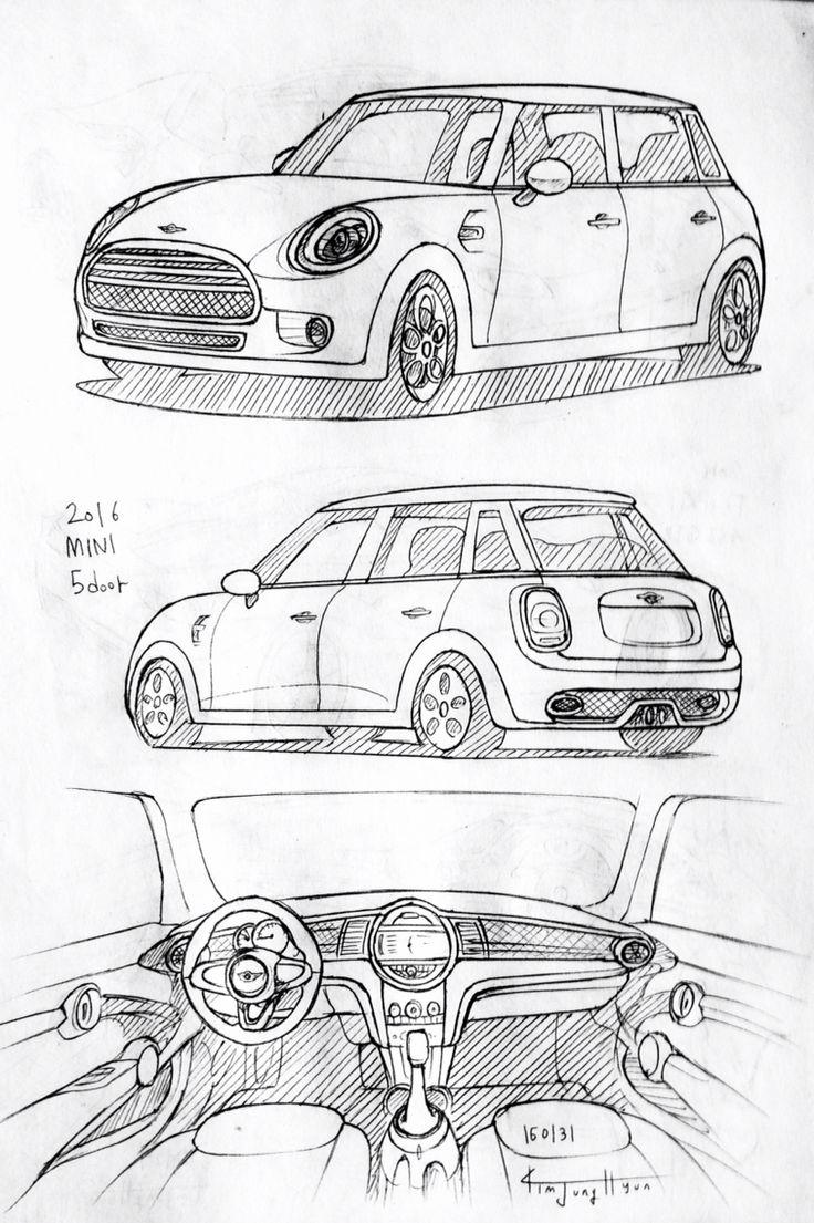 Car drawing 160131. 2016 MINI 5-door. Prisma on paper. Kim
