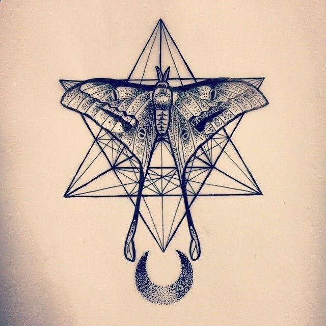 Sacred Geometry Crescent Moon Moth tattoo by Amber Jane ...